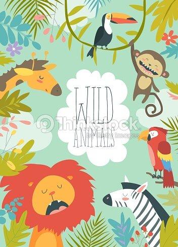 フレームの背景を作成する幸せなジャングルの動物 : ベクトルアート