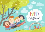 Happy kids flying on a swing. Vector illustration