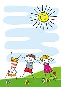 Banner, jumping kids, funny creative illustration, vector. Three children, boys and girl, little kids. Commemorative sheet for camp activities.