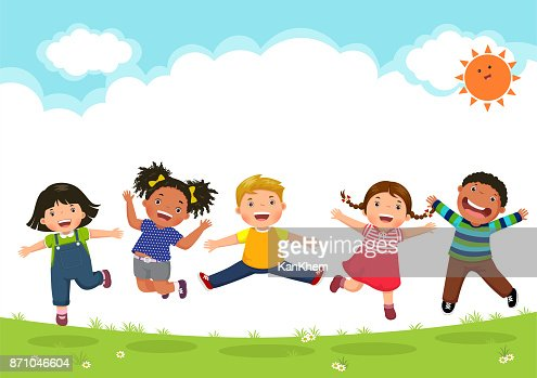 Happy kids jumping together during a sunny day : arte vettoriale