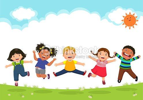 日当たりの良い日中一緒にジャンプ幸せな子供 : ベクトルアート