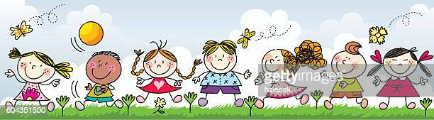 Happy kids playing on the grass- Illustration