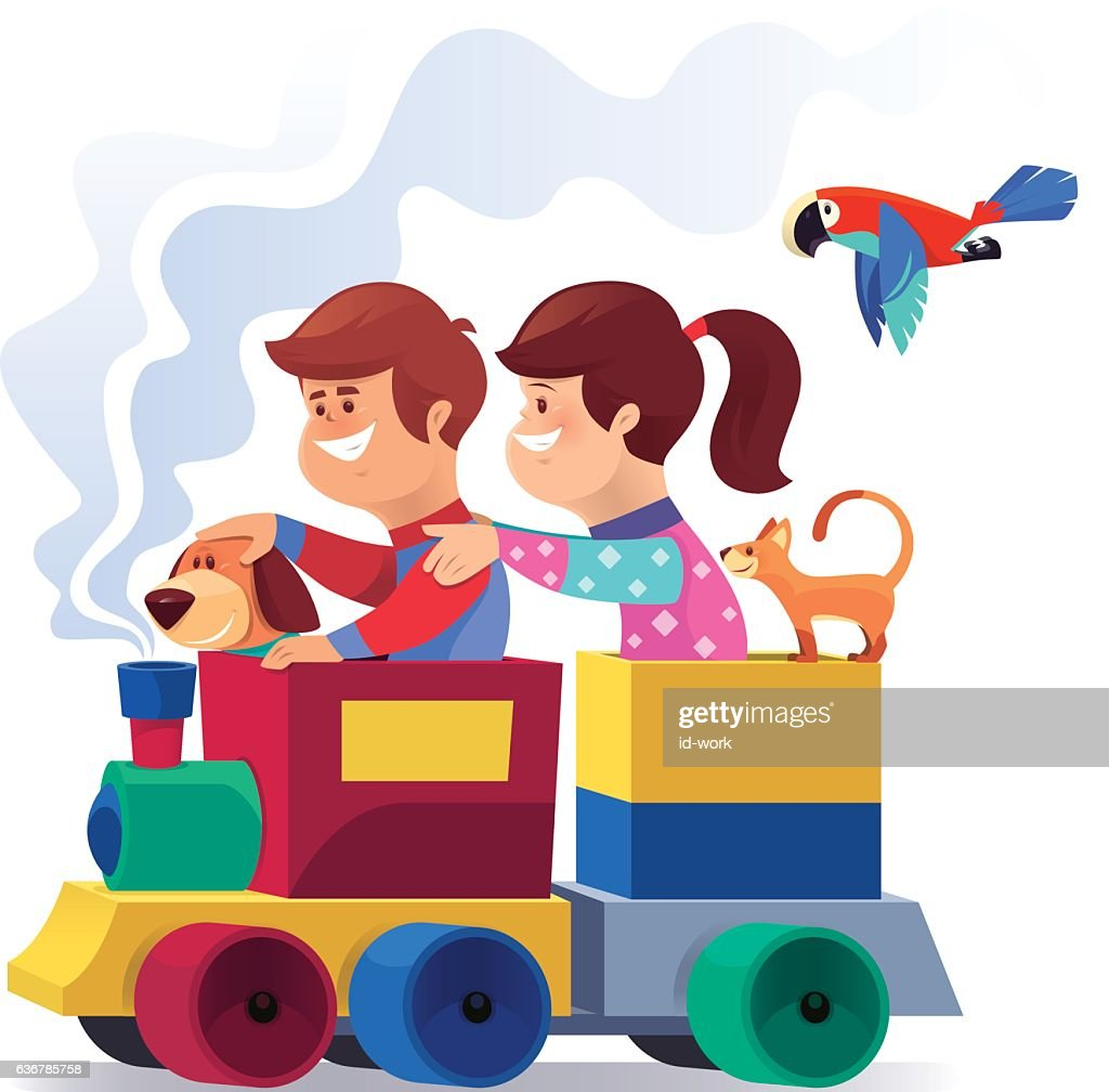 happy kids with pets riding in toy train vector art getty images