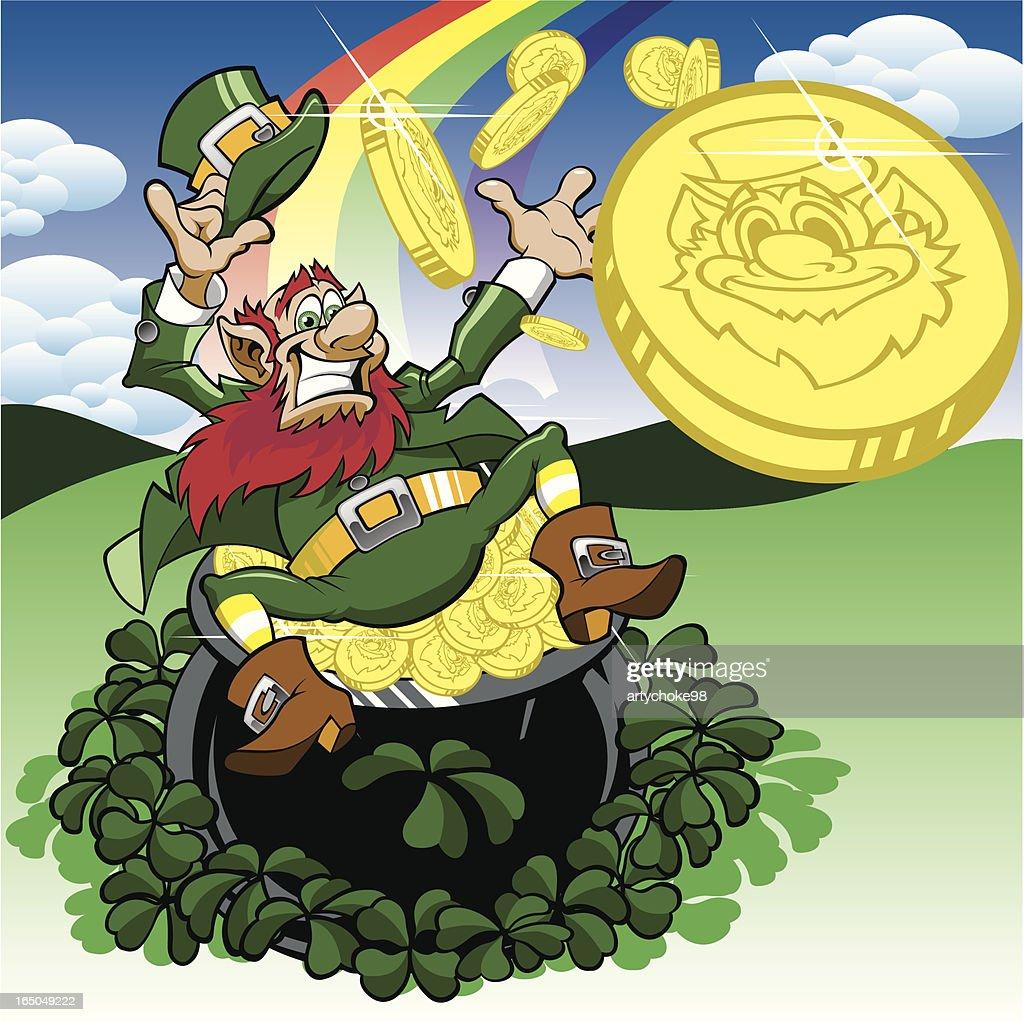 happy leprechaun sitting with pot of gold and rainbow vector art
