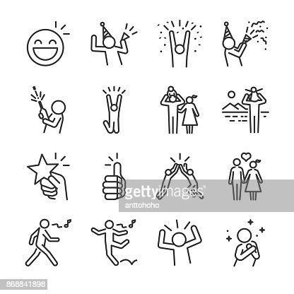 Conjunto de iconos de línea feliz. Incluye los iconos como diversión, disfrutar, fiesta, buen humor, celebrar, éxito y mucho más. : Arte vectorial