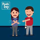 happy man prank a woman fools day vector illustration