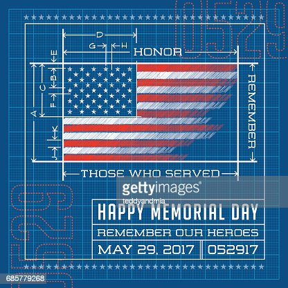 Happy Memorial Day Card Or Banner American Flag Drawing As A