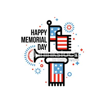 Happy memorial day greeting card with american flag and bugle vector happy memorial day greeting card with american flag and bugle vector art m4hsunfo