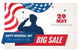 Happy Memorial Day sale banner. Holiday background with waving flag, soldier silhouette and text. Vector flat illustration