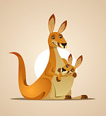 Happy mom kangaroo character and kangaroo child in her bag. Vector cartoon illustration