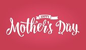 Happy Mother s Day lettering. Vector vintage illustration. Isolated pink background