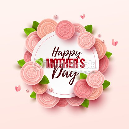 Happy Mothers Day Background With Flowers Vector Art