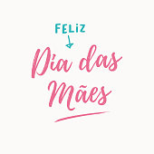 Happy mothers day card, pink background. Editable symbol vector design. Portuguese version.