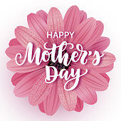 Vector illustration, Happy Mother's day card design with realistic flower and hand written lettering.