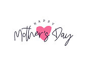 Happy Mother's Day Card. Calligraphy and lettering. Vector illustration on a white background.