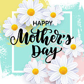 Vector illustration, Happy Mother's day card design with realistic flowers and hand drawn abstract background.