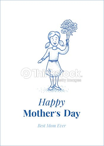 Happy mothers day. Daughter with flowers. Small girl. Hand drawn