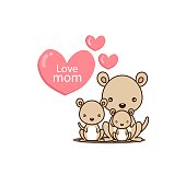 Happy Mother's day. Greeting card with cute mom and baby kangaroo. Vector illustration in cartoon style.
