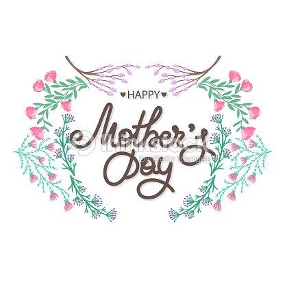 Dia De Las Madres Felices Fiesta De Mama Rotulacion Con Decoracion