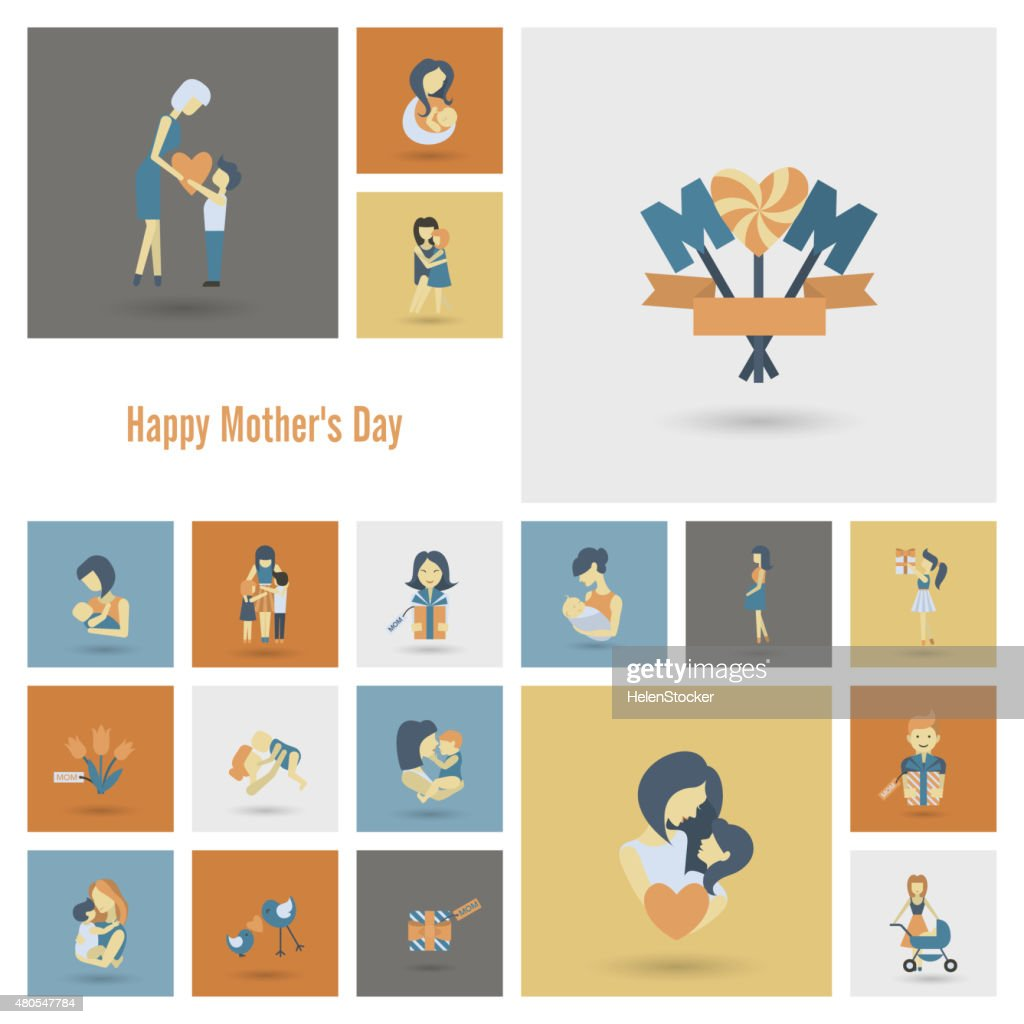Happy Mothers Day Icons : Vector Art