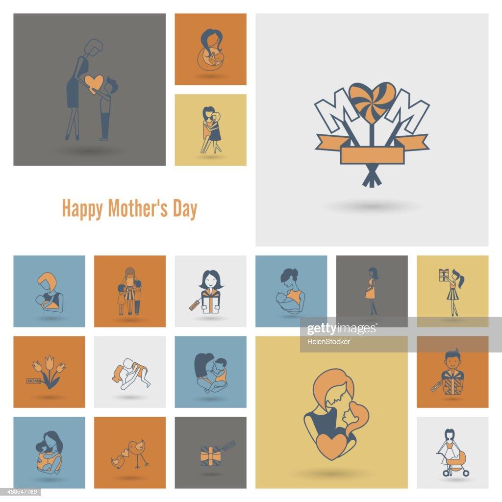 Feliz Dia das Mães ícones : Arte vetorial