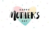 Happy Mothers Day lettering on heart background. Modern vector illustration.