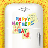 Happy Mother's Day spelled in plastic magnetic letters with children's art. Displayed on vintage refrigerator. Vector illustration.