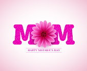 Happy mother's day vector greetings card design with 3D mom text and pink flower in white background. Vector illustration.