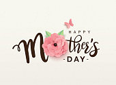 Mother's day lettering design with beautiful blossom flower