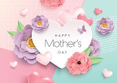 Mother's Day greeting card design with beautiful blossom flowers