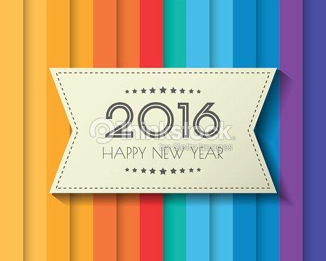 Frohes Neues Jahr 2016 Jahr Grüße Karte Farbenfrohes Design ...