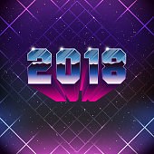 Happy New 2018 Year Greetings Card in 80s Retro Sci-Fi style. Vector futuristic synth retro wave illustration in 1980s posters style.