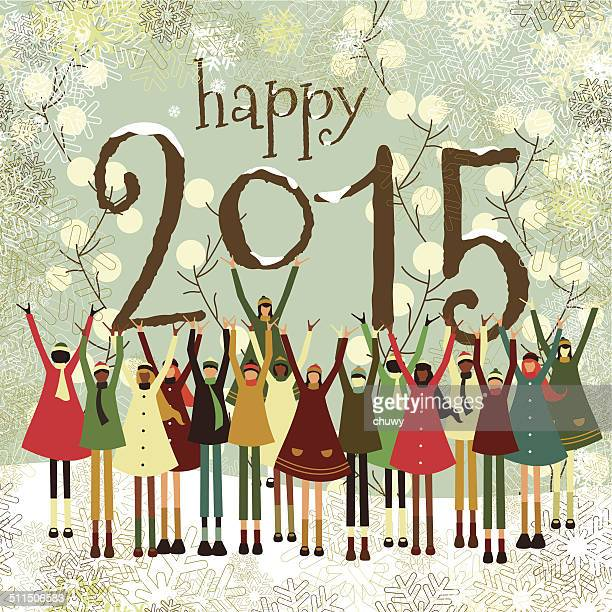 Happy New Year 2015 christmas children multiethnic