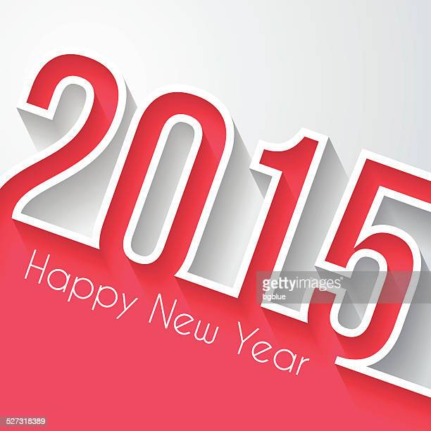 Happy New Year 2015 - Flat Design and long shadow