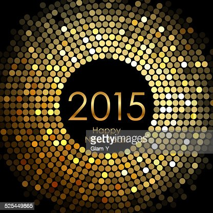 Happy New Year 2015 - gold disco lights frame : Vector Art