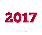 Happy New Year 2017 background. Calendar design typography vector illustration. Paper white and red design with shadows.