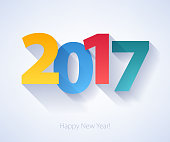 Happy New Year 2017 colorful background. Calendar design typography vector illustration. Paper white design with shadows.