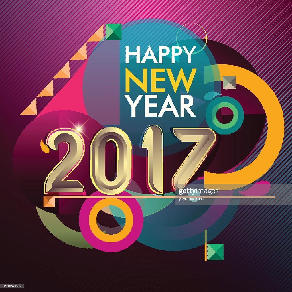 Happy new year 2017 colorful vector pattern, geometric background : Arte vectorial