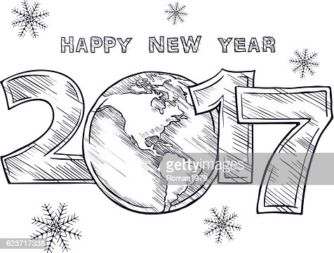 Happy New Year 2017 Sketch Globe Outline Drawing Vector Art Thinkstock