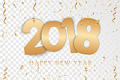 Happy New Year 2018 background. A colorful, hand-drawn font on the background of the holiday. Golden candy Greeting card. Vector illustration EPS10