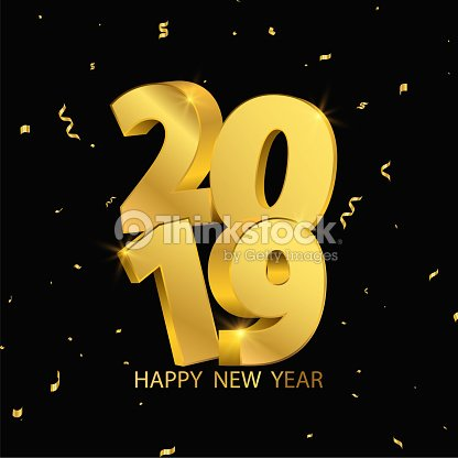 happy new year 2018 background greeting card design template gold confetti celebrate brochure or