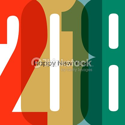 happy new year 2018 greeting card colorful text design vector art