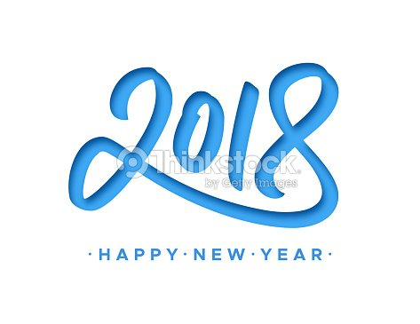 Happy New Year 2018 Greeting Card With Paper Cut Digits On White ...