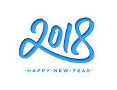Happy New Year 2018 greeting card with paper cut