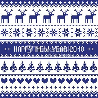Feliz Año Nuevo 2018 Escandinavo Punto De Cruz Patrón Feo Estilo Del ...