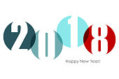 Happy new year 2018 text design. Vector illustration.