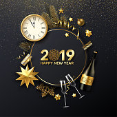 Happy New Year 2019 shiny card with golden Christmas decorations, Champagne, fir branch and clock. Vector background.