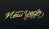 Happy New Year 2019. Holiday illustration of gold lettering. New Year label.