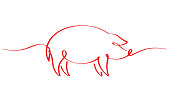 Pig from red ribbon isolated on white background