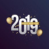 Happy New Year 2019 Greeting Card with trendy background illustration